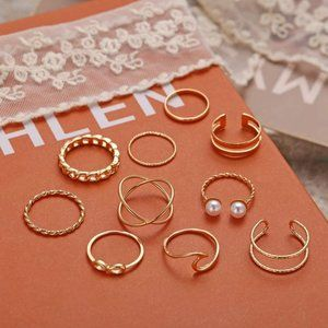 Stackable Rings Set for Women, Bohemian Gold